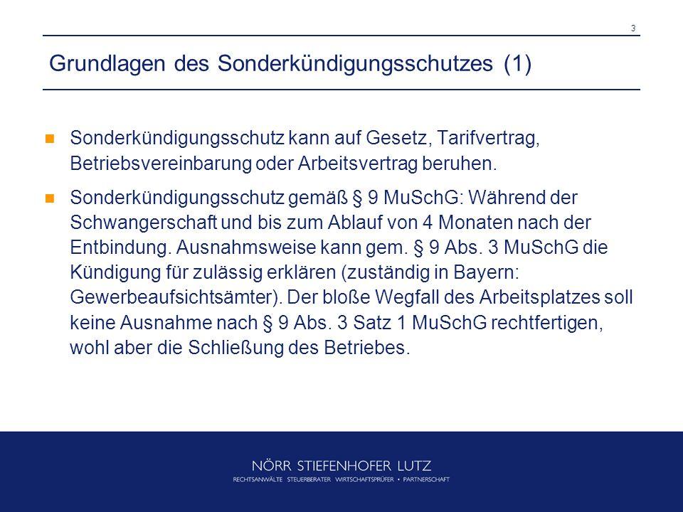 4 Grundlagen des Sonderkündigungsschutzes (2) Sonderkündigungsschutz gem.