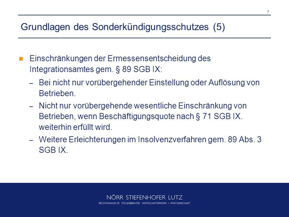 7 Grundlagen des Sonderkündigungsschutzes (5) Einschränkungen der Ermessensentscheidung des Integrationsamtes gem.