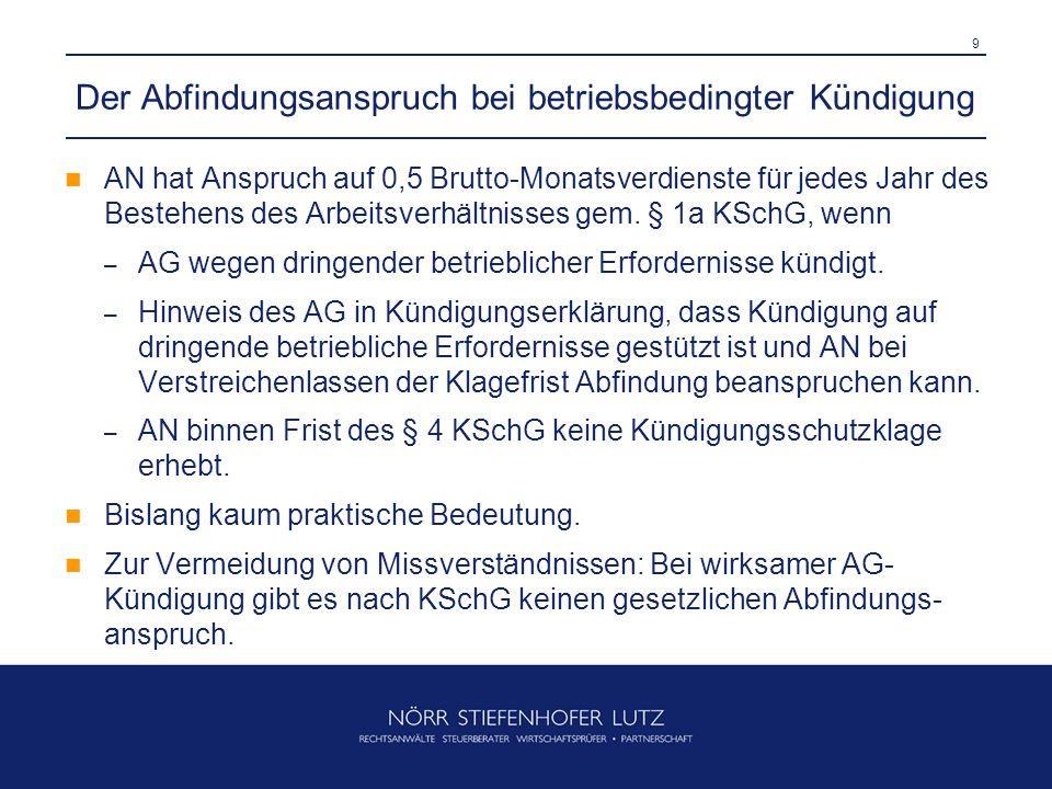 10 Grundlagen der Änderungskündigung - § 2 KSchG (1) Grundstruktur: – AG kündigt das Arbeitsverhältnis – und bietet gleichzeitig Fortsetzung des Arbeitsverhältnisses zu geänderten Bedingungen an (auch insoweit ist Kündigungsfrist beachtlich!).