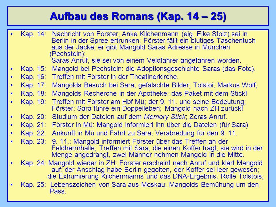 Aufbau des Romans (Kap. 14 – 25) Kap. 14: Nachricht von Förster, Anke Kilchenmann (eig.