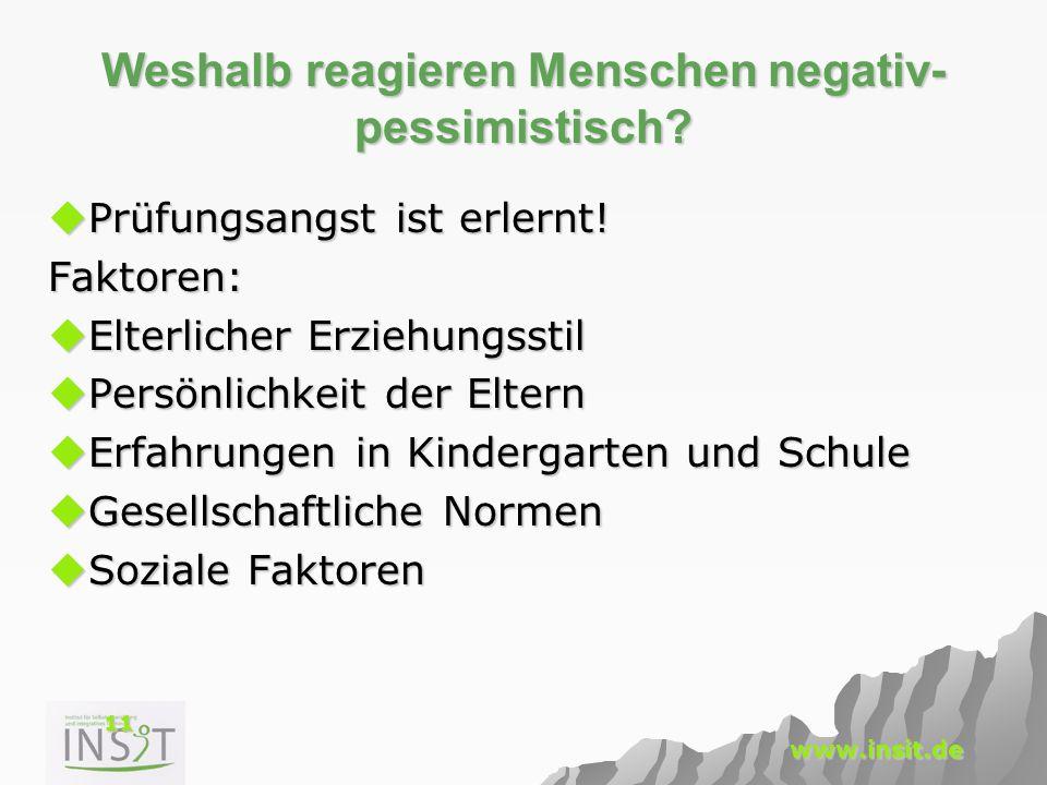 11 www.insit.de Weshalb reagieren Menschen negativ- pessimistisch?  Prüfungsangst ist erlernt! Faktoren:  Elterlicher Erziehungsstil  Persönlichkei