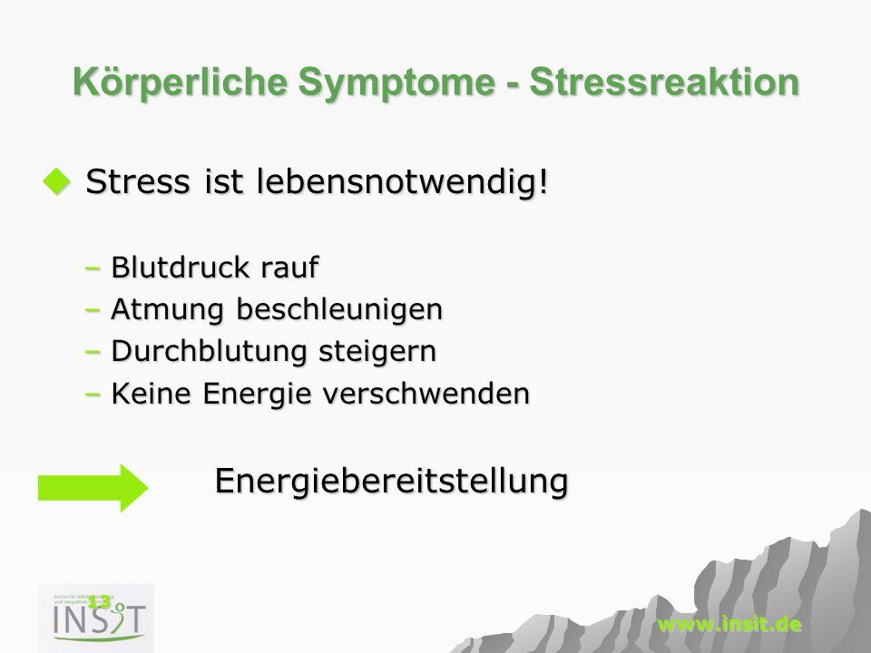 13 www.insit.de Körperliche Symptome - Stressreaktion  Stress ist lebensnotwendig! –Blutdruck rauf –Atmung beschleunigen –Durchblutung steigern –Kein