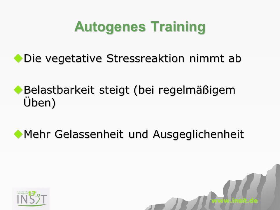 17 www.insit.de Autogenes Training  Die vegetative Stressreaktion nimmt ab  Belastbarkeit steigt (bei regelmäßigem Üben)  Mehr Gelassenheit und Aus