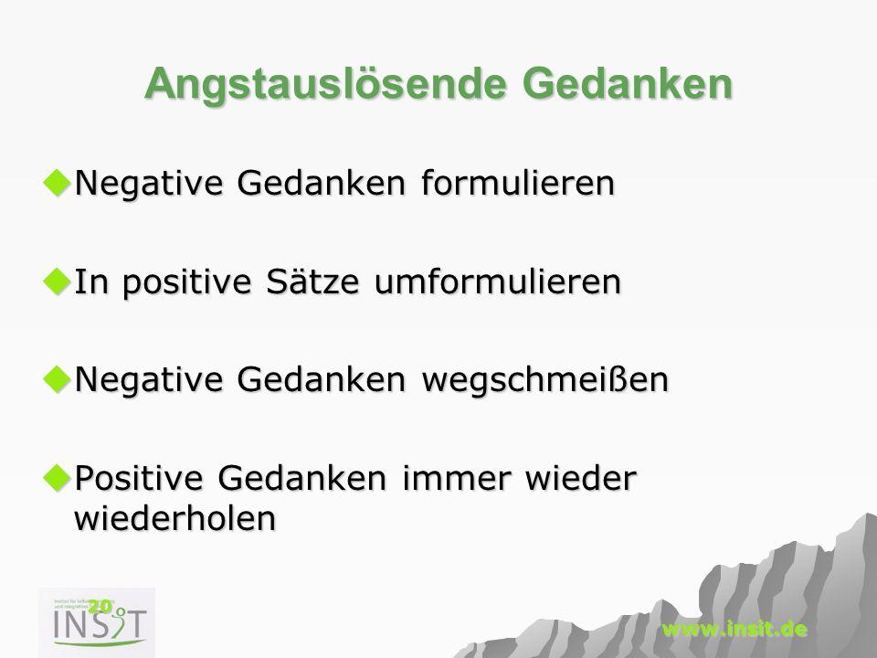 20 www.insit.de Angstauslösende Gedanken  Negative Gedanken formulieren  In positive Sätze umformulieren  Negative Gedanken wegschmeißen  Positive