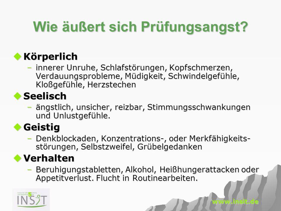 5 www.insit.de Wie äußert sich Prüfungsangst?  Körperlich –innerer Unruhe, Schlafstörungen, Kopfschmerzen, Verdauungsprobleme, Müdigkeit, Schwindelge