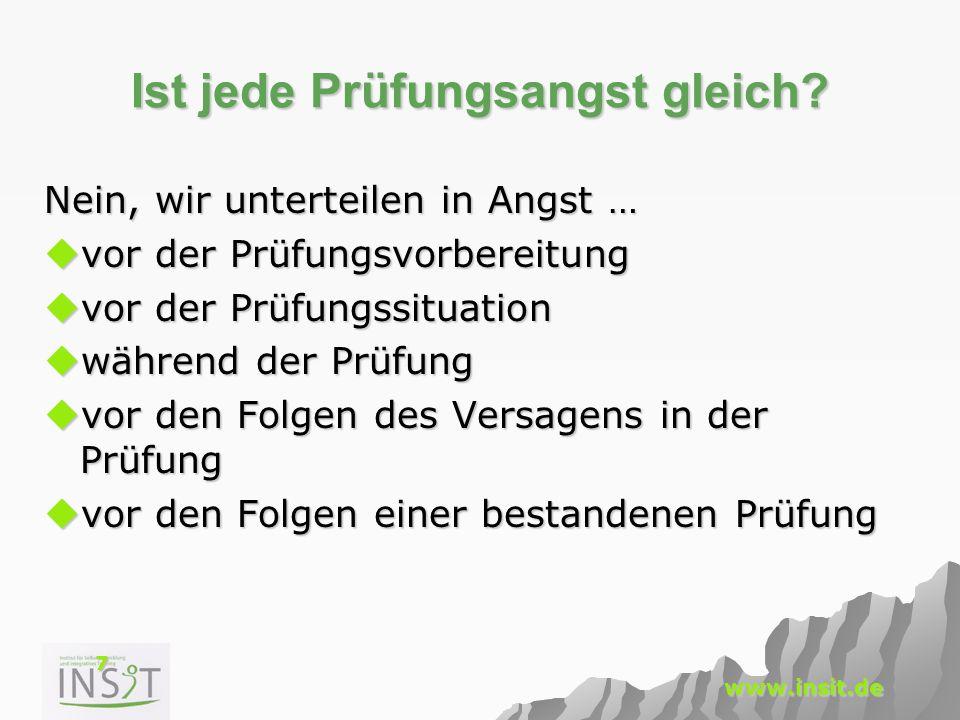 7 www.insit.de Ist jede Prüfungsangst gleich? Nein, wir unterteilen in Angst …  vor der Prüfungsvorbereitung  vor der Prüfungssituation  während de