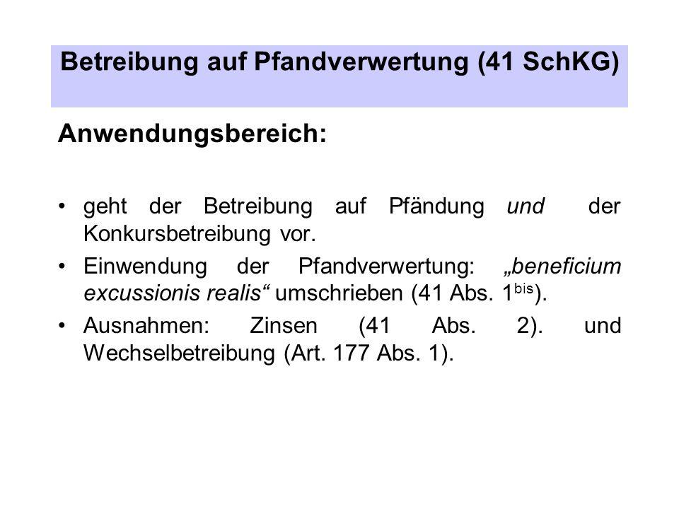 Betreibung auf Pfandverwertung (41 SchKG) Anwendungsbereich: geht der Betreibung auf Pfändung und der Konkursbetreibung vor.