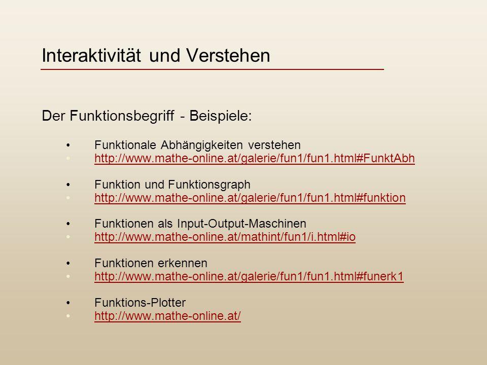 Interaktivität und Verstehen Der Funktionsbegriff - Beispiele: Funktionale Abhängigkeiten verstehen http://www.mathe-online.at/galerie/fun1/fun1.html#FunktAbh Funktion und Funktionsgraph http://www.mathe-online.at/galerie/fun1/fun1.html#funktion Funktionen als Input-Output-Maschinen http://www.mathe-online.at/mathint/fun1/i.html#io Funktionen erkennen http://www.mathe-online.at/galerie/fun1/fun1.html#funerk1 Funktions-Plotter http://www.mathe-online.at/