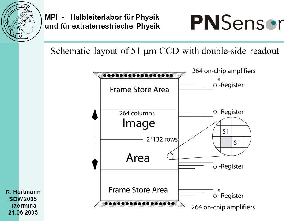 MPI - Halbleiterlabor für Physik und für extraterrestrische Physik R. Hartmann SDW 2005 Taormina 21.06.2005 Schematic layout of 51  m CCD with double