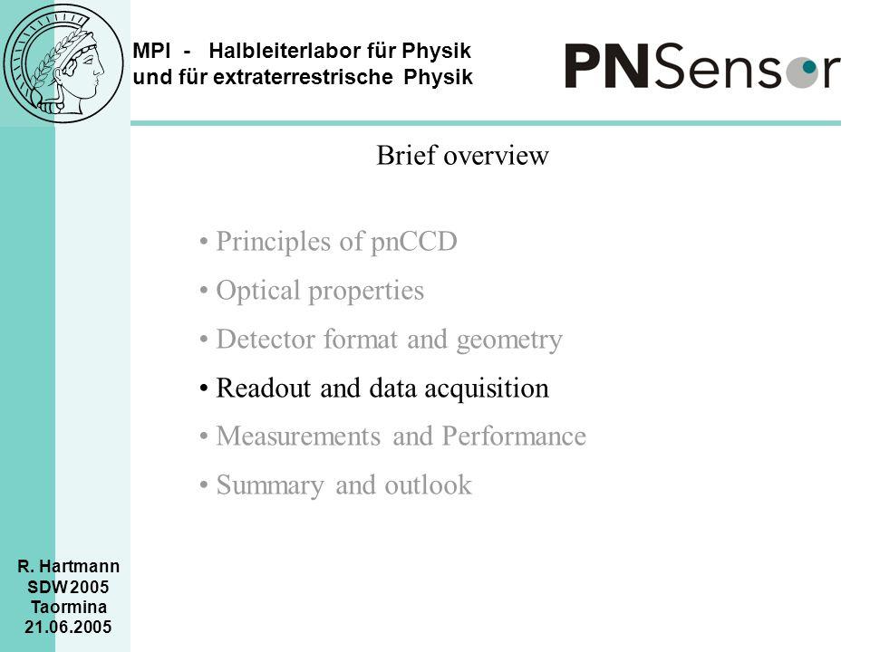 MPI - Halbleiterlabor für Physik und für extraterrestrische Physik R. Hartmann SDW 2005 Taormina 21.06.2005 Brief overview Principles of pnCCD Optical
