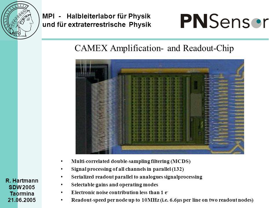 MPI - Halbleiterlabor für Physik und für extraterrestrische Physik R. Hartmann SDW 2005 Taormina 21.06.2005 CAMEX Amplification- and Readout-Chip Mult
