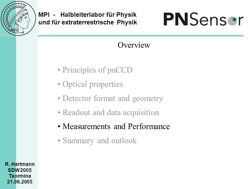 MPI - Halbleiterlabor für Physik und für extraterrestrische Physik R. Hartmann SDW 2005 Taormina 21.06.2005 Overview Principles of pnCCD Optical prope