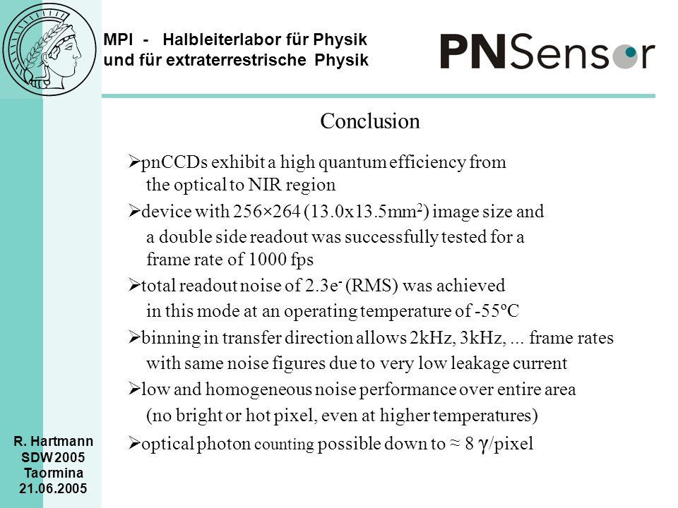 MPI - Halbleiterlabor für Physik und für extraterrestrische Physik R. Hartmann SDW 2005 Taormina 21.06.2005 Conclusion  pnCCDs exhibit a high quantum