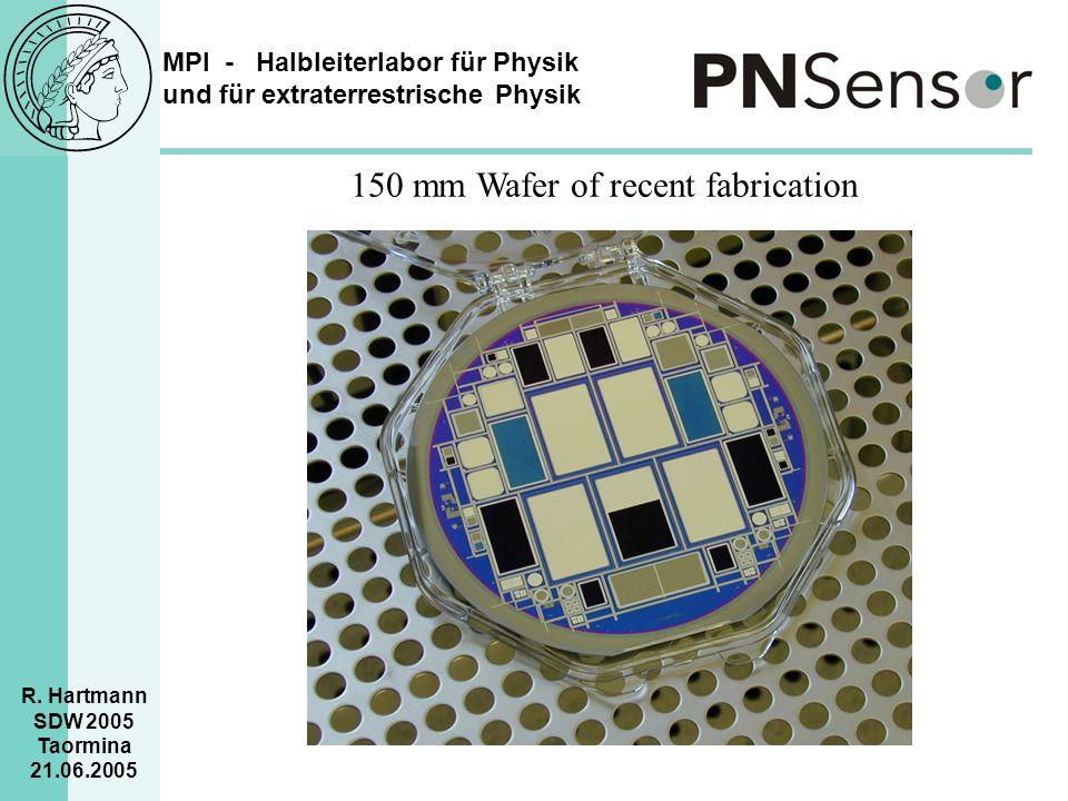 MPI - Halbleiterlabor für Physik und für extraterrestrische Physik R. Hartmann SDW 2005 Taormina 21.06.2005 150 mm Wafer of recent fabrication