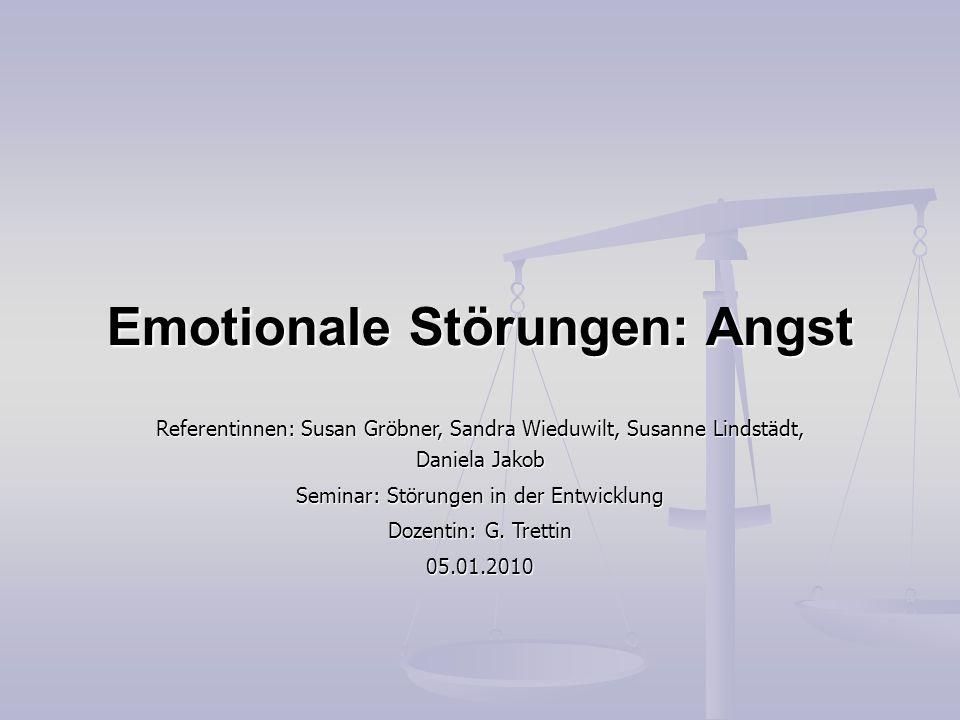 Emotionale Störungen: Angst Referentinnen: Susan Gröbner, Sandra Wieduwilt, Susanne Lindstädt, Daniela Jakob Seminar: Störungen in der Entwicklung Doz