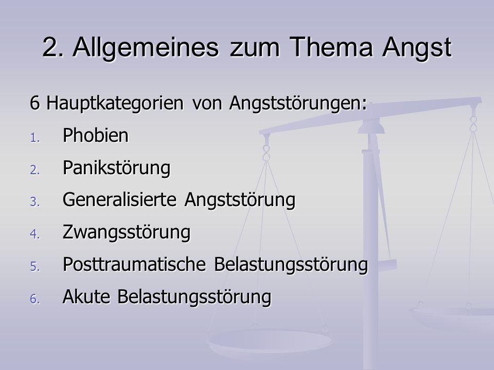 2. Allgemeines zum Thema Angst 6 Hauptkategorien von Angststörungen: 1. Phobien 2. Panikstörung 3. Generalisierte Angststörung 4. Zwangsstörung 5. Pos