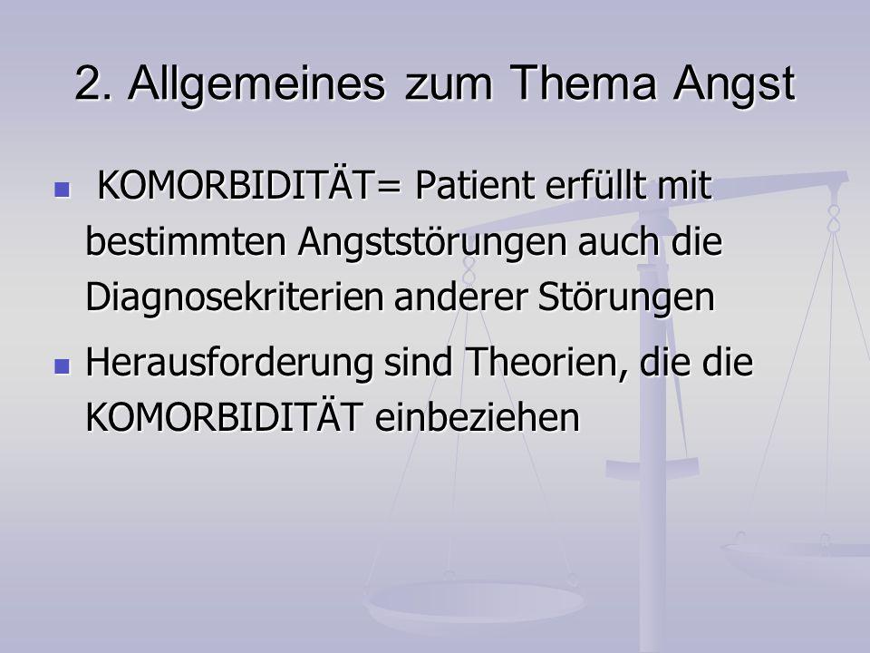 2. Allgemeines zum Thema Angst KOMORBIDITÄT= Patient erfüllt mit bestimmten Angststörungen auch die Diagnosekriterien anderer Störungen KOMORBIDITÄT=