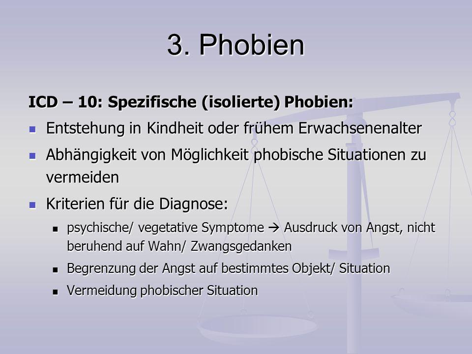 3. Phobien ICD – 10: Spezifische (isolierte) Phobien: Entstehung in Kindheit oder frühem Erwachsenenalter Entstehung in Kindheit oder frühem Erwachsen