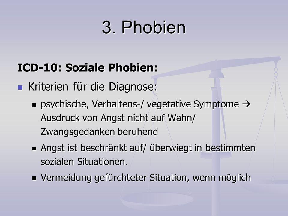 3. Phobien ICD-10: Soziale Phobien: Kriterien für die Diagnose: Kriterien für die Diagnose: psychische, Verhaltens-/ vegetative Symptome  Ausdruck vo
