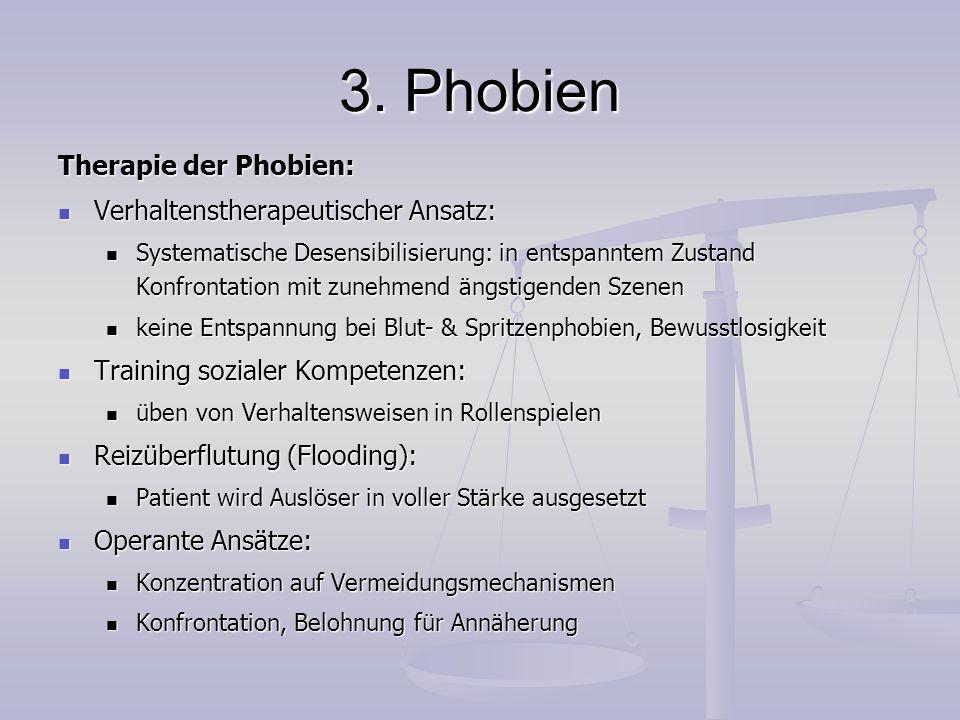 3. Phobien Therapie der Phobien: Verhaltenstherapeutischer Ansatz: Verhaltenstherapeutischer Ansatz: Systematische Desensibilisierung: in entspanntem
