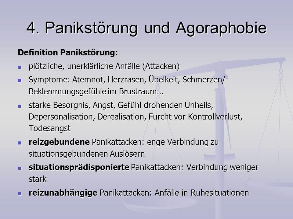 4. Panikstörung und Agoraphobie Definition Panikstörung: plötzliche, unerklärliche Anfälle (Attacken) plötzliche, unerklärliche Anfälle (Attacken) Sym