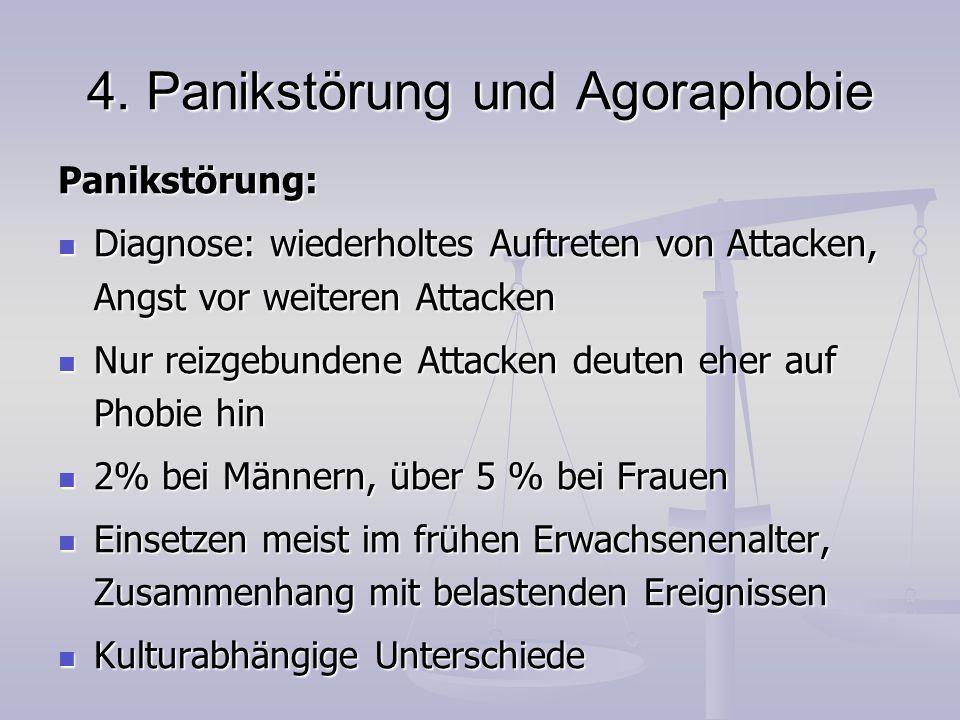 4. Panikstörung und Agoraphobie Panikstörung: Diagnose: wiederholtes Auftreten von Attacken, Angst vor weiteren Attacken Diagnose: wiederholtes Auftre
