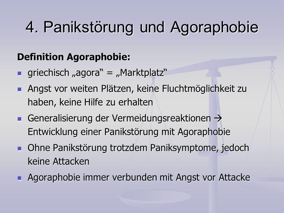 """4. Panikstörung und Agoraphobie Definition Agoraphobie: griechisch """"agora"""" = """"Marktplatz"""" griechisch """"agora"""" = """"Marktplatz"""" Angst vor weiten Plätzen,"""