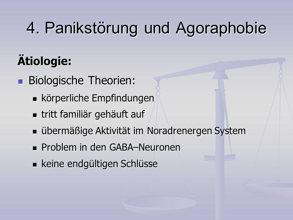 4. Panikstörung und Agoraphobie Ätiologie: Biologische Theorien: Biologische Theorien: körperliche Empfindungen körperliche Empfindungen tritt familiä