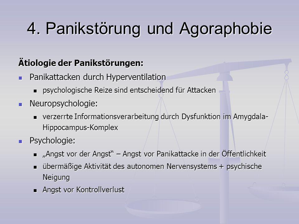 4. Panikstörung und Agoraphobie Ätiologie der Panikstörungen: Panikattacken durch Hyperventilation Panikattacken durch Hyperventilation psychologische