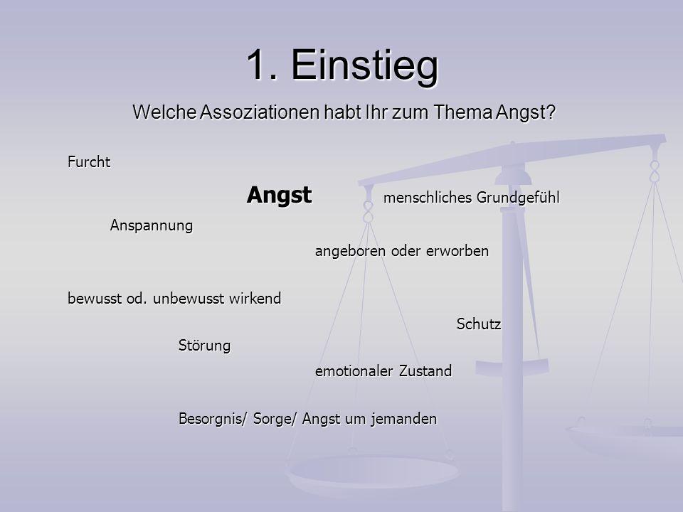 2.Allgemeines zum Thema Angst lat. angustus, angustia = die Enge, Beengung, Bedrängnis lat.