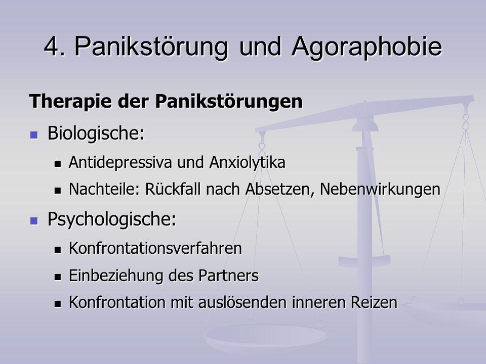 4. Panikstörung und Agoraphobie Therapie der Panikstörungen Biologische: Biologische: Antidepressiva und Anxiolytika Antidepressiva und Anxiolytika Na