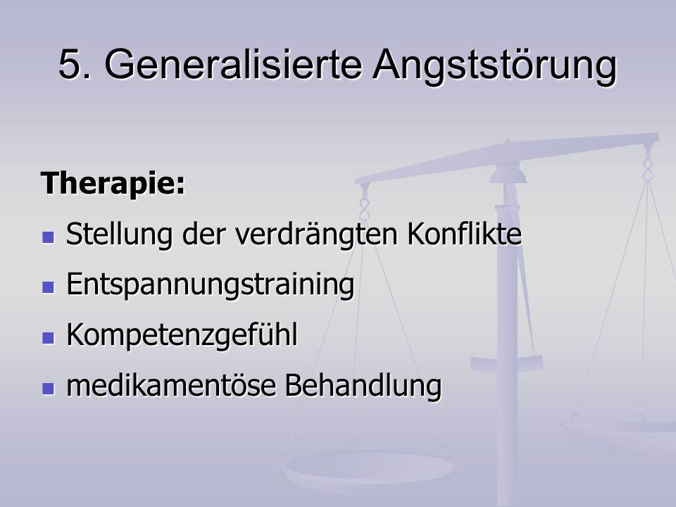 5. Generalisierte Angststörung Therapie: Stellung der verdrängten Konflikte Stellung der verdrängten Konflikte Entspannungstraining Entspannungstraini