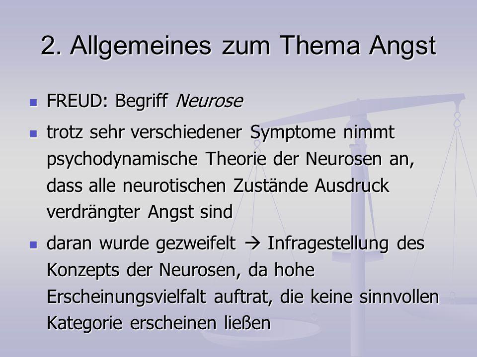 2. Allgemeines zum Thema Angst FREUD: Begriff Neurose FREUD: Begriff Neurose trotz sehr verschiedener Symptome nimmt psychodynamische Theorie der Neur