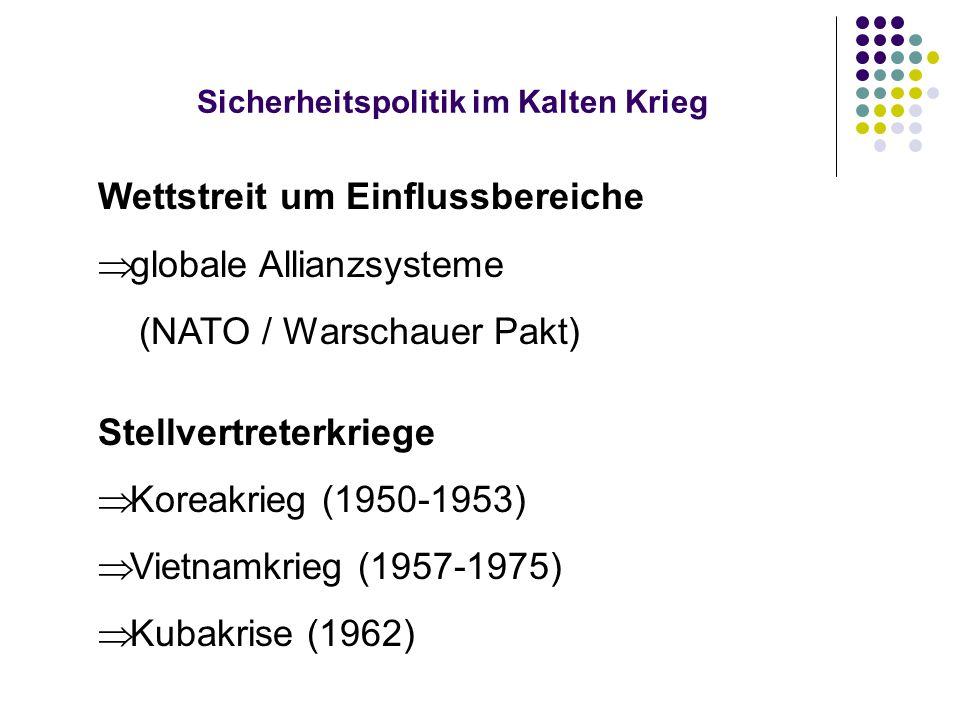 Sicherheitspolitik im Kalten Krieg Wettstreit um Einflussbereiche  globale Allianzsysteme (NATO / Warschauer Pakt) Stellvertreterkriege  Koreakrieg