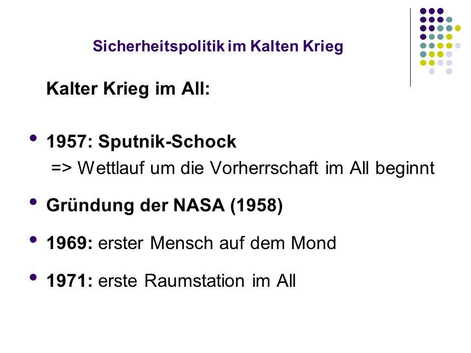 Sicherheitspolitik im Kalten Krieg Kalter Krieg im All: 1957: Sputnik-Schock => Wettlauf um die Vorherrschaft im All beginnt Gründung der NASA (1958)