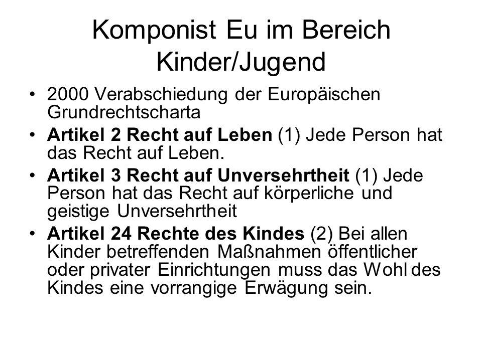 Komponist Eu im Bereich Kinder/Jugend 2000 Verabschiedung der Europäischen Grundrechtscharta Artikel 2 Recht auf Leben (1) Jede Person hat das Recht a