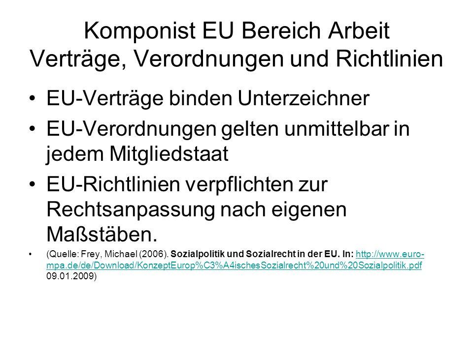 Komponist EU Bereich Arbeit Verträge, Verordnungen und Richtlinien EU-Verträge binden Unterzeichner EU-Verordnungen gelten unmittelbar in jedem Mitgli