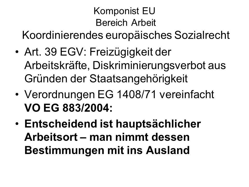 Komponist EU Bereich Arbeit Koordinierendes europäisches Sozialrecht Art. 39 EGV: Freizügigkeit der Arbeitskräfte, Diskriminierungsverbot aus Gründen