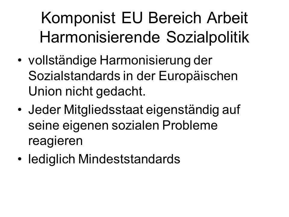 Komponist EU Bereich Arbeit Harmonisierende Sozialpolitik vollständige Harmonisierung der Sozialstandards in der Europäischen Union nicht gedacht. Jed