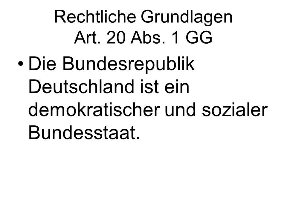 Rechtliche Grundlagen Art. 20 Abs. 1 GG Die Bundesrepublik Deutschland ist ein demokratischer und sozialer Bundesstaat.
