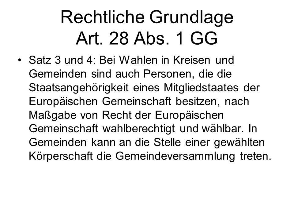 Rechtliche Grundlage Art. 28 Abs. 1 GG Satz 3 und 4: Bei Wahlen in Kreisen und Gemeinden sind auch Personen, die die Staatsangehörigkeit eines Mitglie