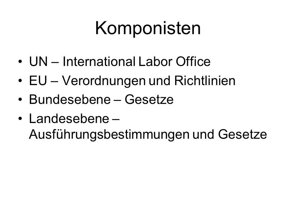 Komponisten UN – International Labor Office EU – Verordnungen und Richtlinien Bundesebene – Gesetze Landesebene – Ausführungsbestimmungen und Gesetze
