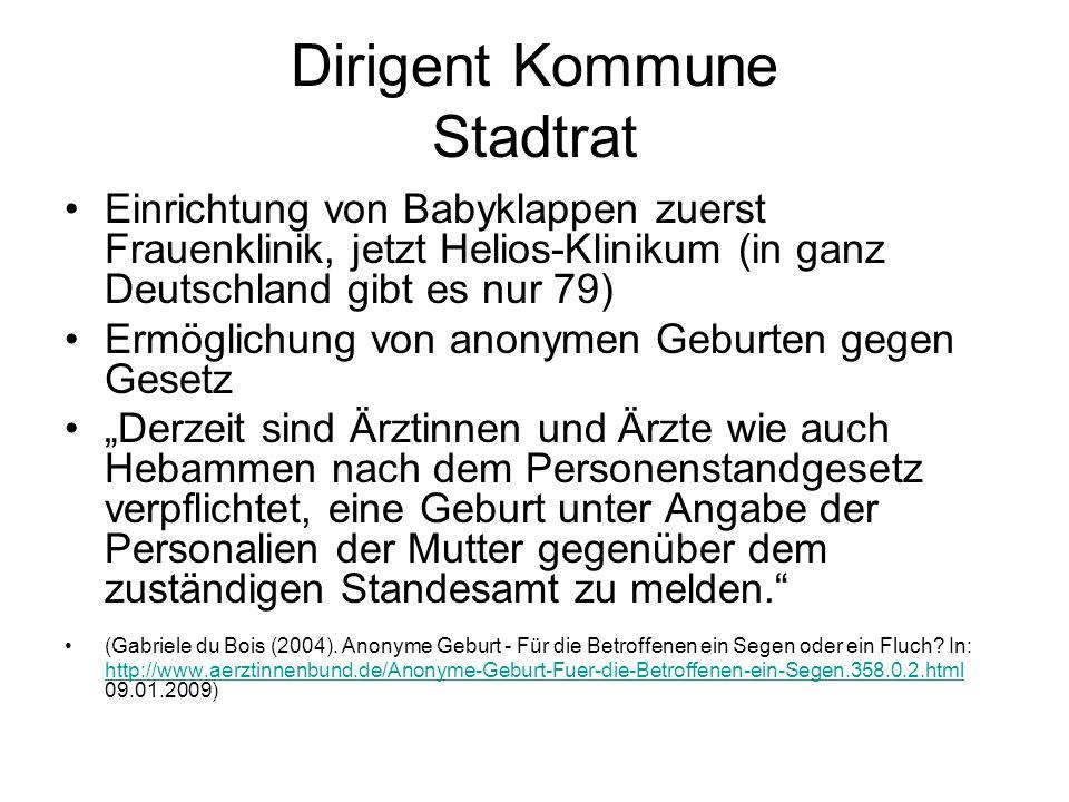 Dirigent Kommune Stadtrat Einrichtung von Babyklappen zuerst Frauenklinik, jetzt Helios-Klinikum (in ganz Deutschland gibt es nur 79) Ermöglichung von