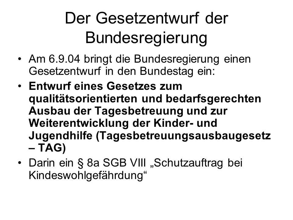 Der Gesetzentwurf der Bundesregierung Am 6.9.04 bringt die Bundesregierung einen Gesetzentwurf in den Bundestag ein: Entwurf eines Gesetzes zum qualit