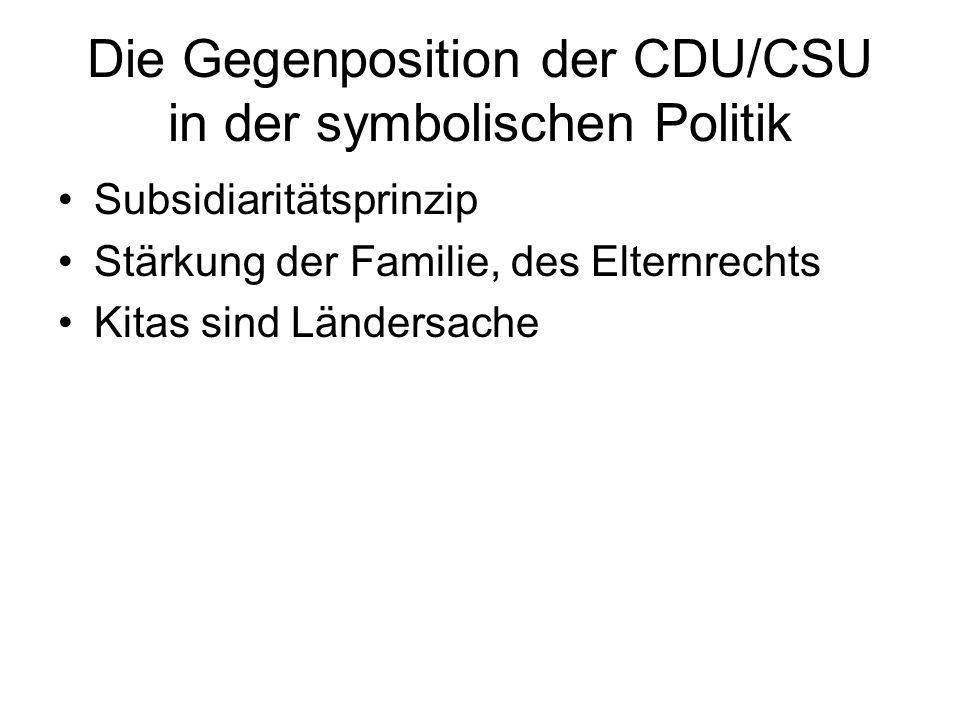 Die Gegenposition der CDU/CSU in der symbolischen Politik Subsidiaritätsprinzip Stärkung der Familie, des Elternrechts Kitas sind Ländersache