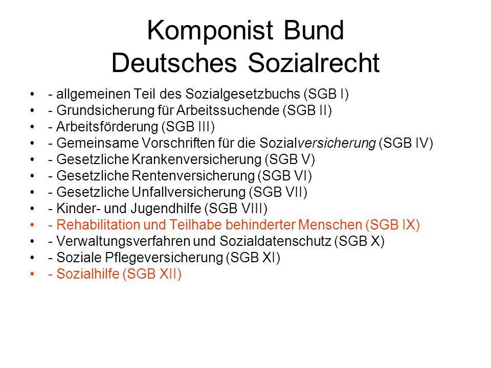 Komponist Bund Deutsches Sozialrecht - allgemeinen Teil des Sozialgesetzbuchs (SGB I) - Grundsicherung für Arbeitssuchende (SGB II) - Arbeitsförderung