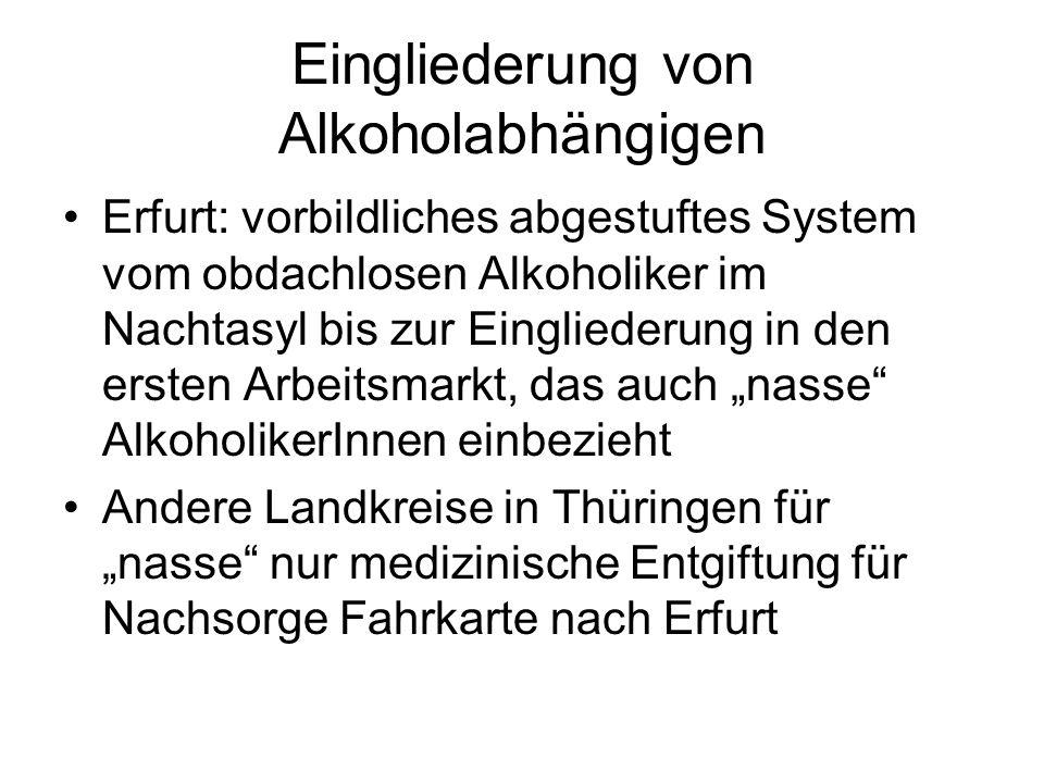 Eingliederung von Alkoholabhängigen Erfurt: vorbildliches abgestuftes System vom obdachlosen Alkoholiker im Nachtasyl bis zur Eingliederung in den ers