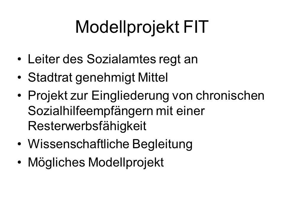 Modellprojekt FIT Leiter des Sozialamtes regt an Stadtrat genehmigt Mittel Projekt zur Eingliederung von chronischen Sozialhilfeempfängern mit einer R