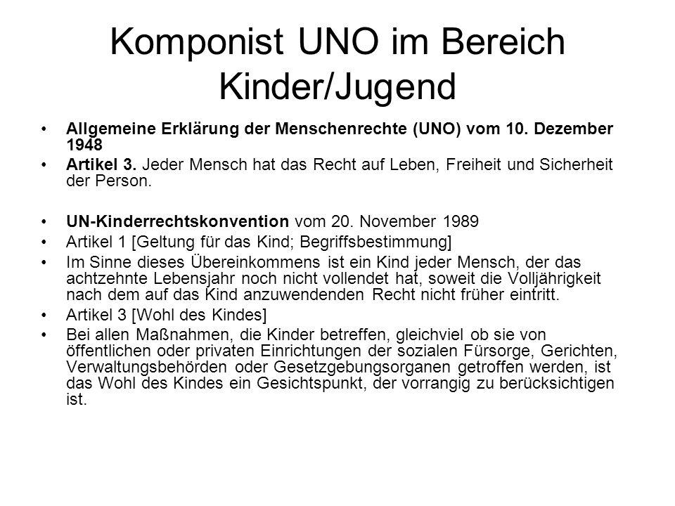 Komponist UNO im Bereich Kinder/Jugend Allgemeine Erklärung der Menschenrechte (UNO) vom 10. Dezember 1948 Artikel 3. Jeder Mensch hat das Recht auf L