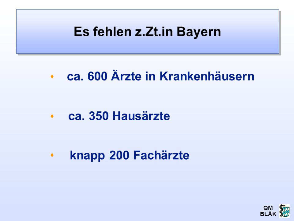 QM BLÄK ca. 600 Ärzte in Krankenhäusern Es fehlen z.Zt.in Bayern    ca. 350 Hausärzte knapp 200 Fachärzte